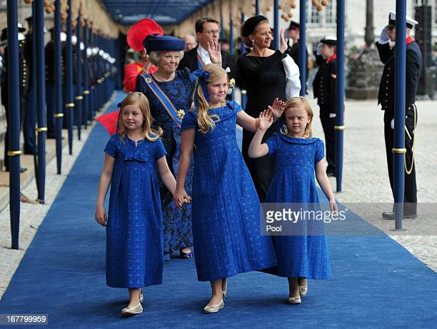 Princess Beatrix of the Netherlands and granddaughters Princess Alexia Catharina Amalia and Princess Ariane leave following the inauguration ceremony...