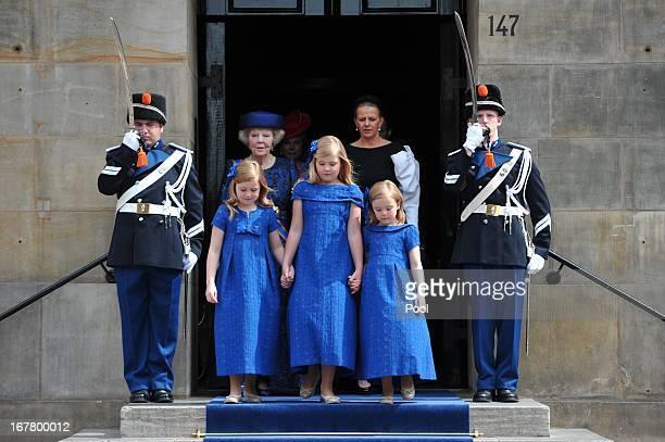 Princess Beatrix of the Netherlands and granddaughters Princess Alexia Catharina Amalia and Princess Ariane of the Netherlands attend the...