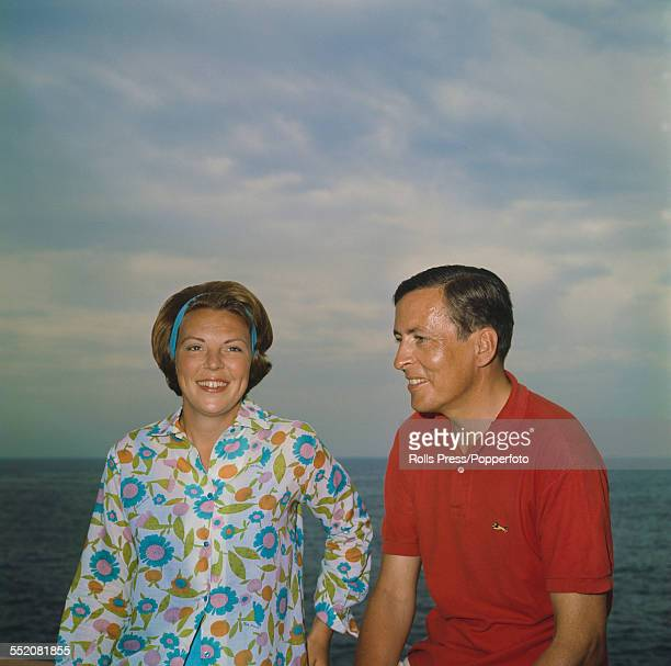 Princess Beatrix of the Netherlands and her fiance Claus von Amsberg pictured together on vacation at their holiday villa in Porto Ercole Italy in...