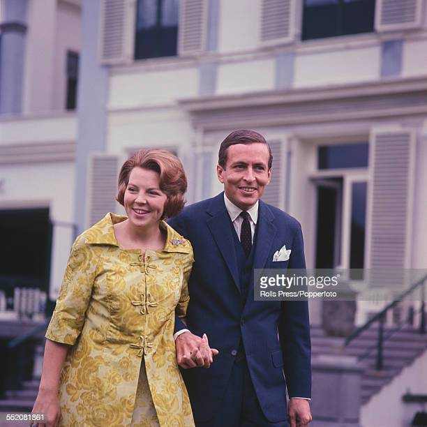 Princess Beatrix of the Netherlands and her fiance Claus von Amsberg pictured together after the announcement of their engagement in June 1965