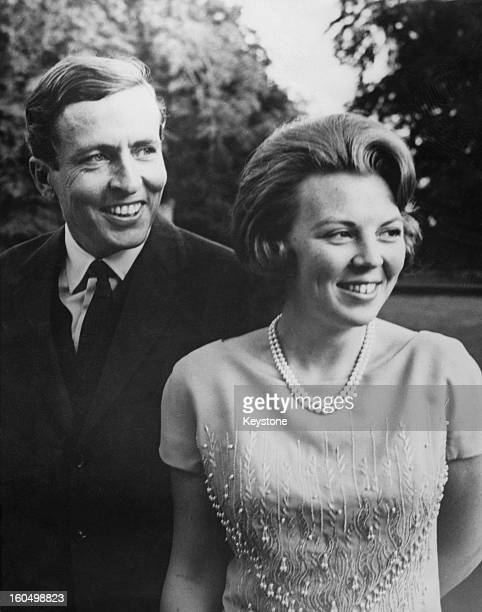 Princess Beatrix of the Netherlands and her fiancee Claus van Amsberg after they announced the date of their wedding, Netherlands, 28th June 1965.