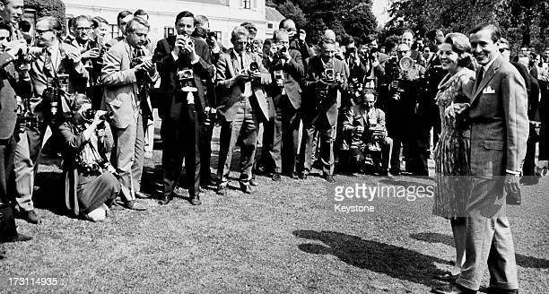 Princess Beatrix of the Netherlands and her fiancee Claus van Amsberg pose for photographers at Soestdijk Palace Utrecht Netherlands after they...