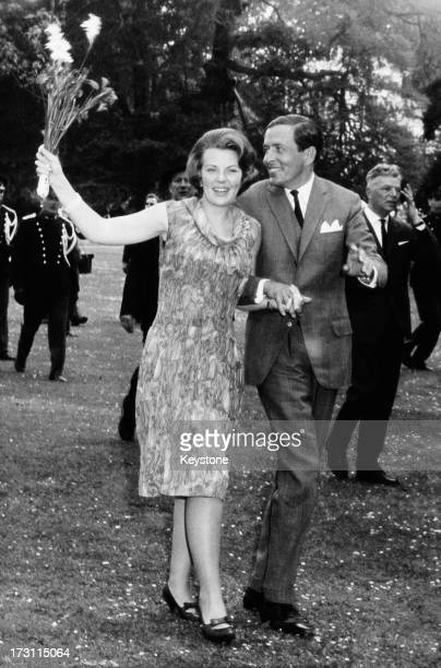 Princess Beatrix of the Netherlands and her fiancee Claus van Amsberg in the grounds of Soestdijk Palace, Utrecht, Netherlands, after they announced...