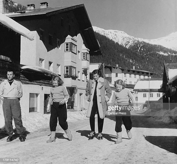 Princess Beatrix of the Netherlands and her sister Princess Irene with a ladyinwaiting in the village of St Anton during a holiday in Austria...