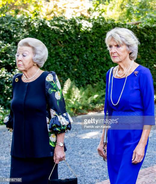 Princess Beatrix of The Netherlands and Princess Irene of The Netherlands attend the funeral of Princess Christina at the Royal Stables on August 22...