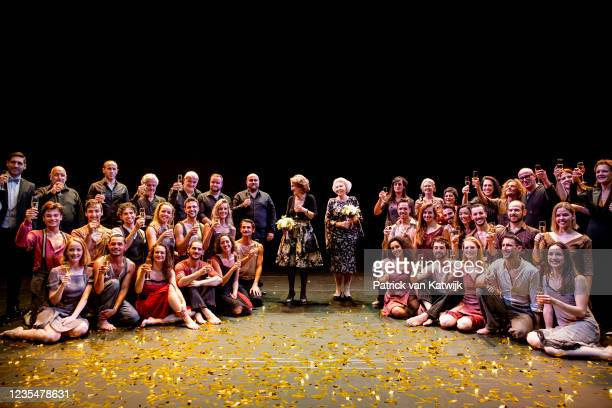 Princess Beatrix of The Netherlands and Princess Margriet of The Netherlands attend the 50th jubilee show of Introdans on September 24, 2021 in...