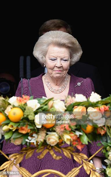 Princess Beatrix of the Netherlands appears on the balcony of the Royal Palace to greet the public after her abdication and ahead of the Inauguration...