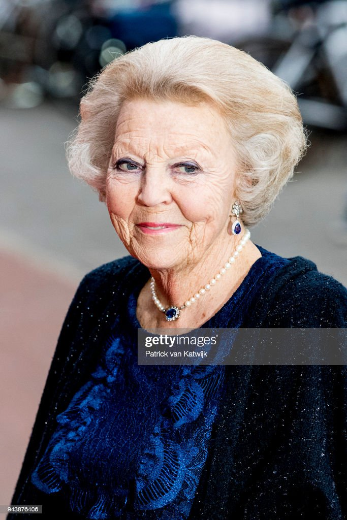 Princess Beatrix of The Netherlands arrive at the Oosterpoort for the Kingsday concert on April 9, 2018 in Groningen, Netherlands.