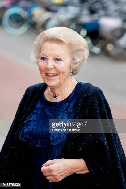 Princess Beatrix of The Netherlands arrive at the Oosterpoort for the Kingsday concert on April 9 2018 in Groningen Netherlands