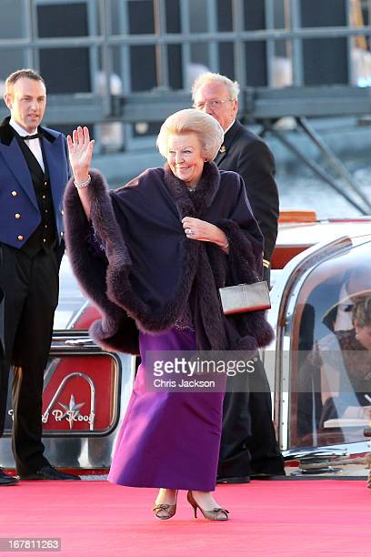 Princess Beatrix of the Netherlands arrives at the Muziekbouw following the water pageant after the abdication of Queen Beatrix of the Netherlands...