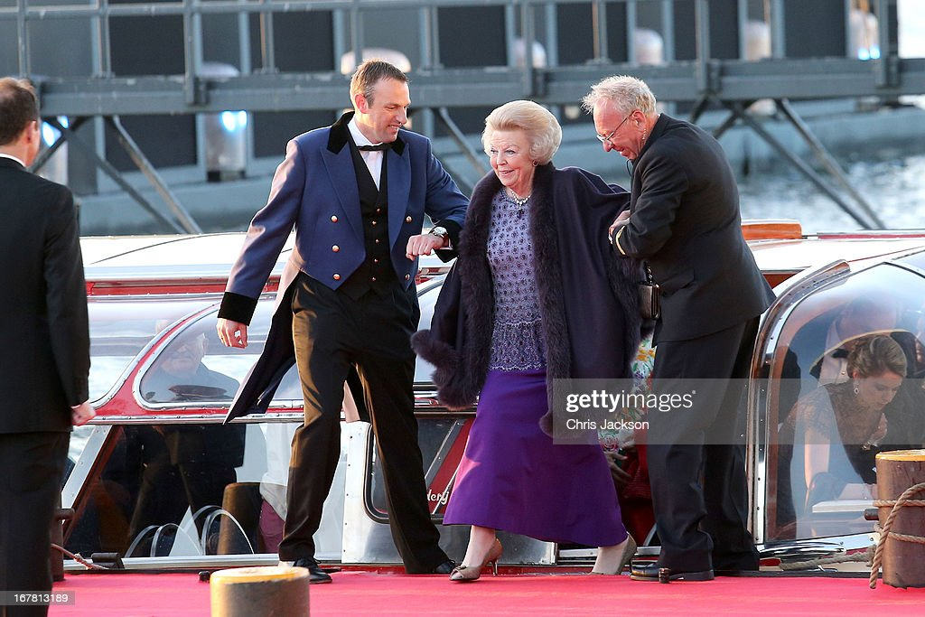 Princess Beatrix of the Netherlands arrives at the Muziekbouw following the water pageant after the abdication of Queen Beatrix of the Netherlands and the Inauguration of King Willem Alexander of the Netherlands on April 30, 2013 in Amsterdam, Netherlands.