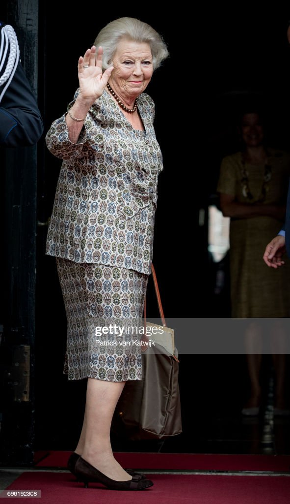 Princess Beatrix of The Netherlands arrives at the Royal Palace for the annual palace symposium on June 15, 2017 in Amsterdam, Netherlands. Theme of the symposium is depopulation of the rural area.