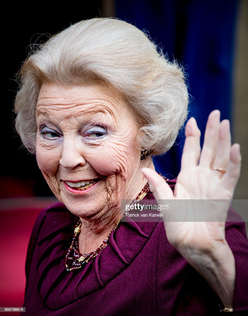 Princess Beatrix of The Netherlands arrives at the Royal Palace Amsterdam for the Gala dinner for the Corps diplomatique on April 24, 2018 in Amsterdam, Netherlands.