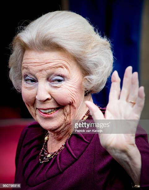 Princess Beatrix of The Netherlands arrives at the Royal Palace Amsterdam for the Gala dinner for the Corps diplomatique on April 24 2018 in...