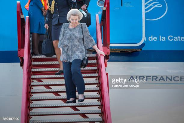 Princess Beatrix of The Netherlands arrives with an AirFrance KLM flight at the airport on March 30 2017 in Oranjestad Aruba The Princess is in Aruba...