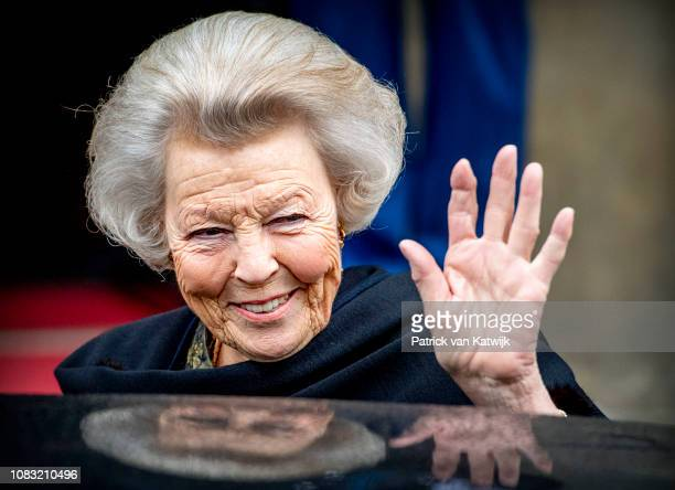 Princess Beatrix of The Netherlands at the Royal Palace for the new year reception for the Diplomatic Corps on January 16, 2019 in Amsterdam,...