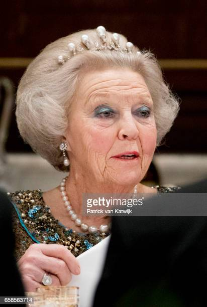 Princess Beatrix of The Netherlands attend an state banquet for President Mauricio Macri of Argentina and his wife Juliana Awada at the Royal Palace...