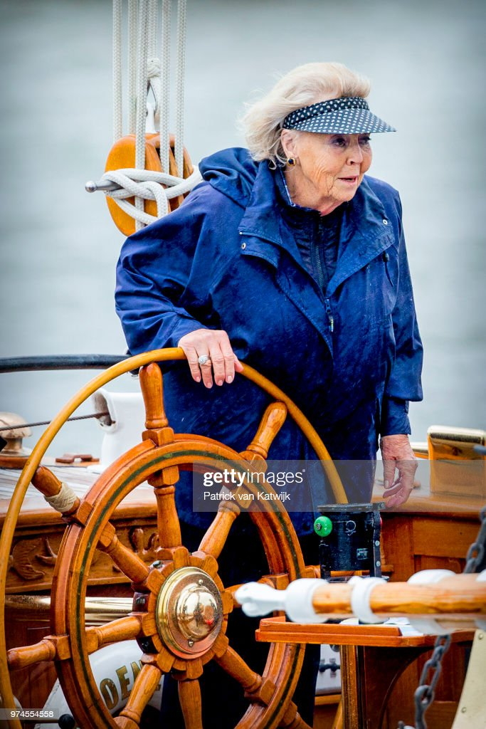 Princess Beatrix Of The Netherlands Sails At the Groene Draeck in Lelystad