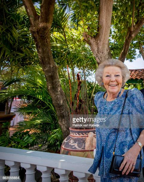 Princess Beatrix of The Netherlands attends an lunch with officials at restaurant Papiamento on April 1 2017 in Oranjestad Aruba The Princess is in...