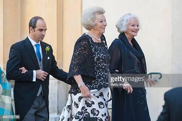 Princess Beatrix of The Netherlands attends Juan Zorreguieta and Andrea Wolf's wedding at palais Liechtenstein on June 7 2014 in Vienna Austria