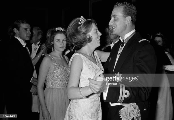 HRH Princess Beatrix of the Netherlands dancing with HRH Prince Juan Carlos of Spain at her Wedding in Amsterdam on 11th March 1966