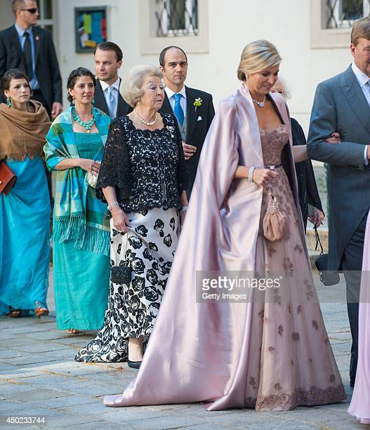 Princess Beatrix of The Netherlands, King Willem-Alexander and Queen Maxima of The Netherlands attend Juan Zorreguieta and Andrea Wolf's wedding at...