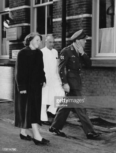 Princess Beatrix of the Netherlands leaves hospital with her father Prince Bernhard after her appendectomy Utrecht Netherlands 14th March 1955 With...