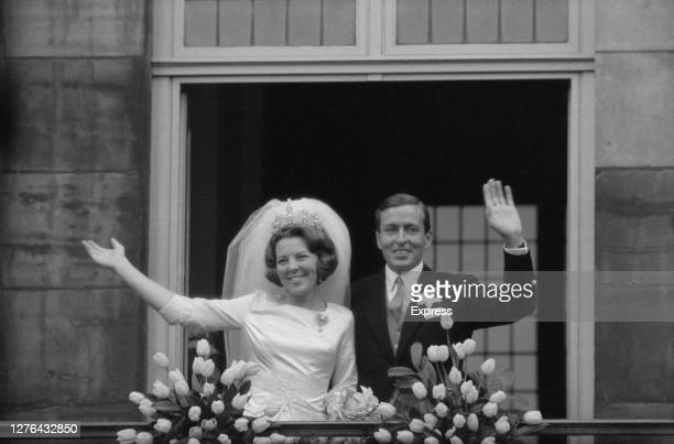 Princess Beatrix of the Netherlands marries German diplomat Claus von Amsberg in Amsterdam, Netherlands, 10th March 1966.