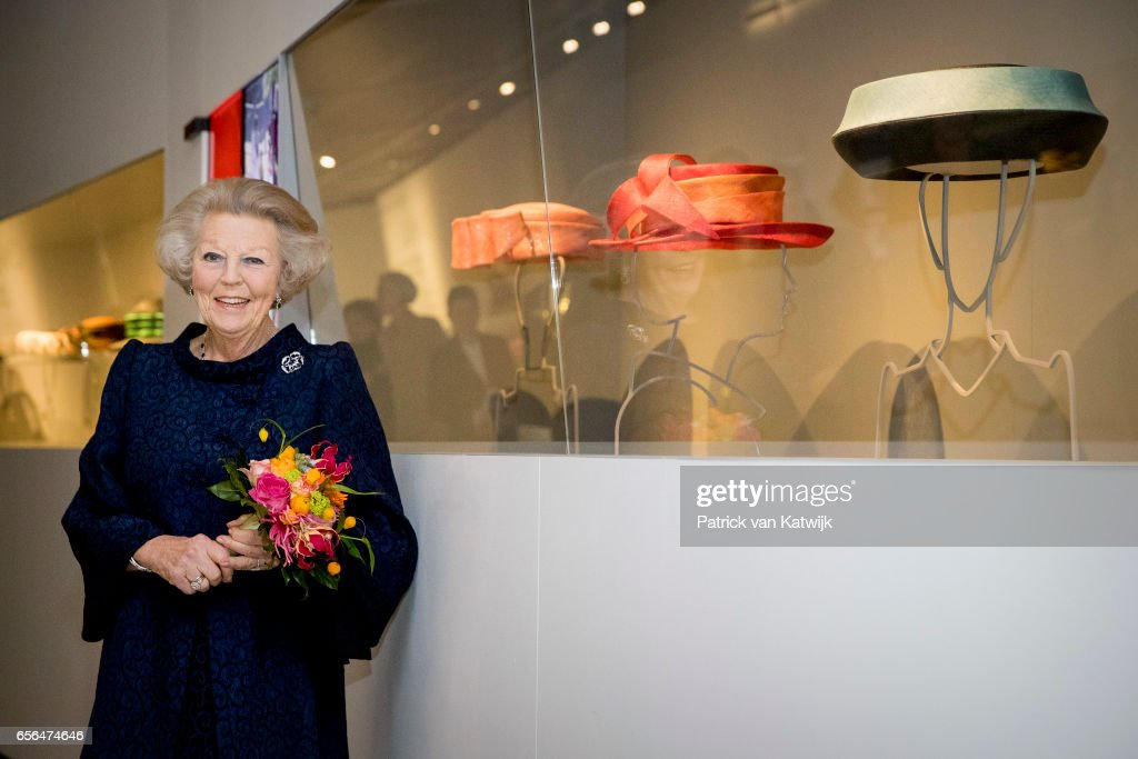 Princess Beatrix of The Netherlands opens the exhibition 'Chapeaux, hats of Queen Beatrix' in Palace het Loo on March 22, 2017 in Apeldoorn, Netherlands. The exhibition shows 100 hats of Queen Beatrix worn during her reign from 1980 till 2013. The hats are designed by Emy Bloemheuvel, Suzanne Moulijn and Harry Scheltens.