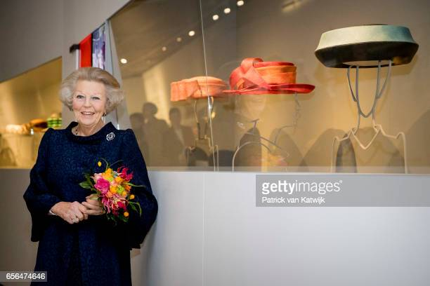 Princess Beatrix of The Netherlands opens the exhibition 'Chapeaux, hats of Queen Beatrix' in Palace het Loo on March 22, 2017 in Apeldoorn,...