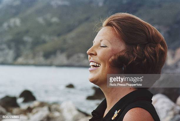 Princess Beatrix of the Netherlands pictured on the terrace of the Dutch Royal Family's holiday villa in Porto Ercole, Italy in summer 1968.
