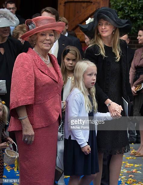 Princess Beatrix of The Netherlands, Princess Luana and Princess Mabel of The Netherlands attend the wedding of Prince Jaime de Bourbon Parme and...