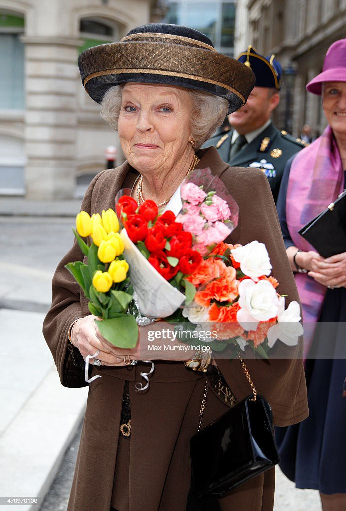 Princess Beatrix of The Netherlands receives flowers from well wishers as she attends celebrations to mark the 140th anniversary of the King William Fund at the Dutch Church on April 24, 2015 in London, England.