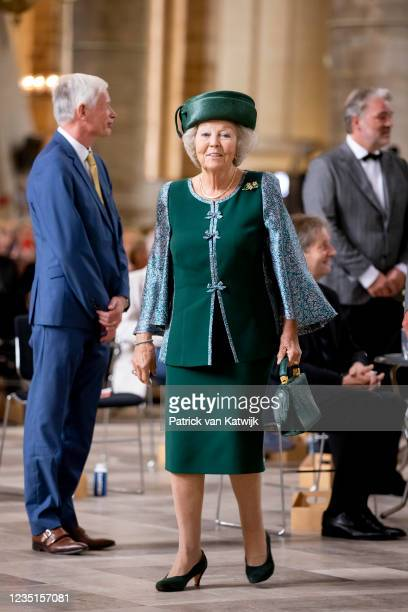 Princess Beatrix of The Netherlands unveil the window Peace and Reconciliation in the Laurens Church on September 10, 2021 in Rotterdam, Netherlands.