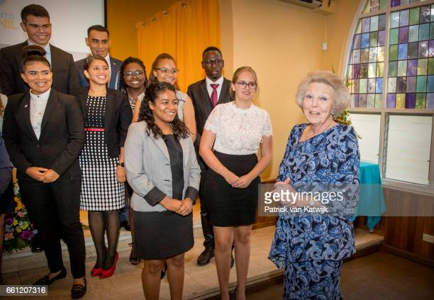 Princess Beatrix of The Netherlands visits the University of Aruba for two debates of the youth parliament about Economy versus Nature and Tourism...