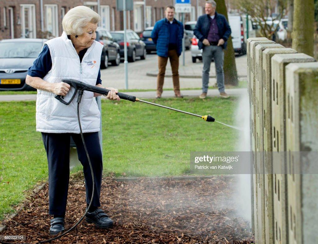 Princess Beatrix Of The Netherlands Volunteer For NL Doet In IJsselstein : News Photo