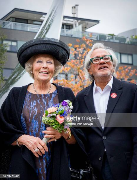 Princess Beatrix of The Netherlands with British sculptor Anish Kapoor opens the jubilee Exhibition WeerZien at Museum de Pont on September 16 2017...