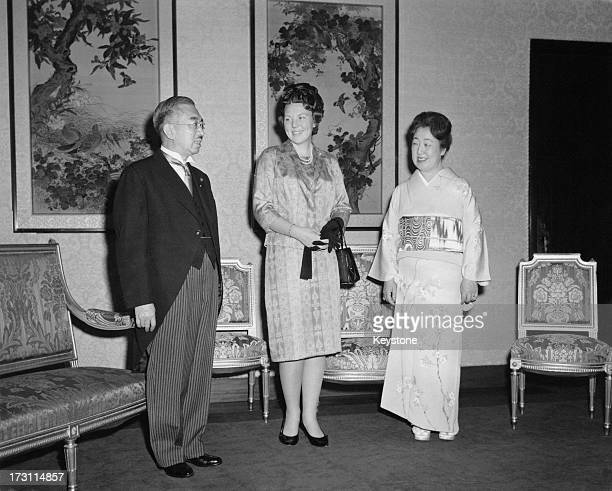 Princess Beatrix of the Netherlands with Emperor Hirohito and Empress Nagako during an official visit to Japan Tokyo 8th Aprill 1963