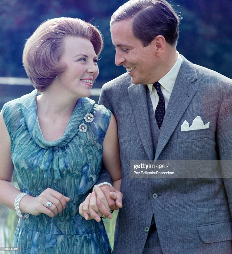Princess Beatrix of the Netherlands with her fiance Claus van Amsberg on the occasion of their engagement announcement at Soestdijk Palace in Baarn near Amersfoort on 1st June 1965.