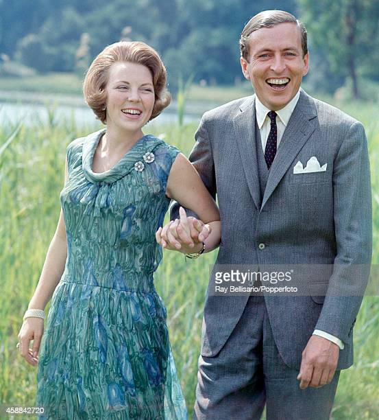 Princess Beatrix of the Netherlands with her fiance Claus van Amsberg on the occasion of their engagement announcement at Soestdijk Palace in Baarn...