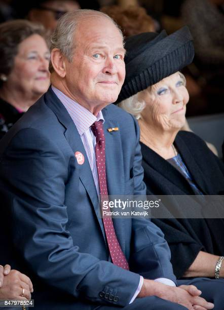 Princess Beatrix of The Netherlands with museum founder Jos de Pont opens the jubilee Exhibition WeerZien at Museum de Pont on September 16 2017 in...