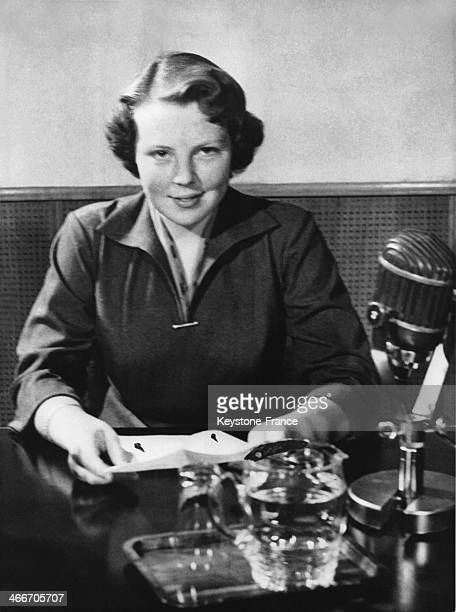 Princess Beatrix pronouncing a broadcast speech for her eighteenth birthday on January 31 1956 in the Netherlands