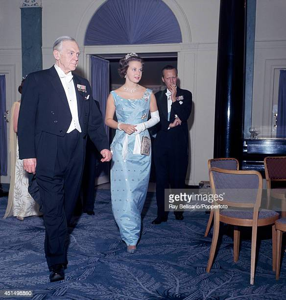 Princess Benedikte and Prince George of Denmark during an AngloDanish dinner dance at the Dorchester Hotel in London circa 1962