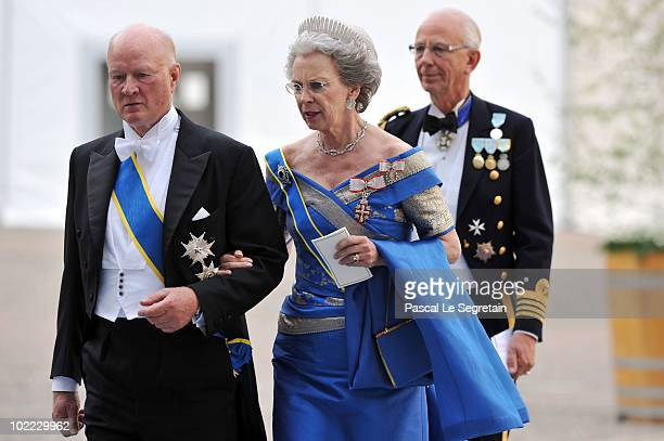 Princess Benedikte and Prince Richard zu SaynWittgensteinBerleburg attend the wedding of Crown Princess Victoria of Sweden and Daniel Westling on...