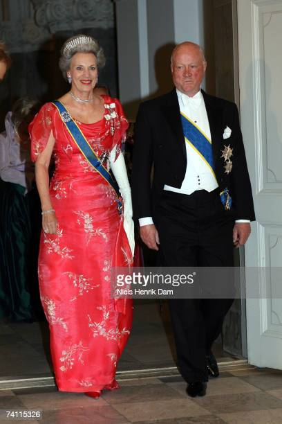 Princess Benedikte and Prince Richard zuSaynWittgensteinBerleburg of Denmark attend a gala event at the Christiansborg Palace on May 9 2007 in...