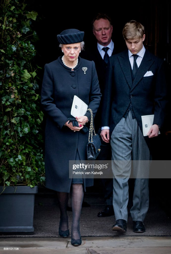 Princess Benedikte, Count Richard and Prince Gustav attend the funeral of Prince Richard at the Evangelische Stadtkirche on March 21, 2017 in Bad Berleburg, Germany. Prince Richard, husband of Princess Benedikte of Denmark, died suddenly on March 13, 2017 at age 83.