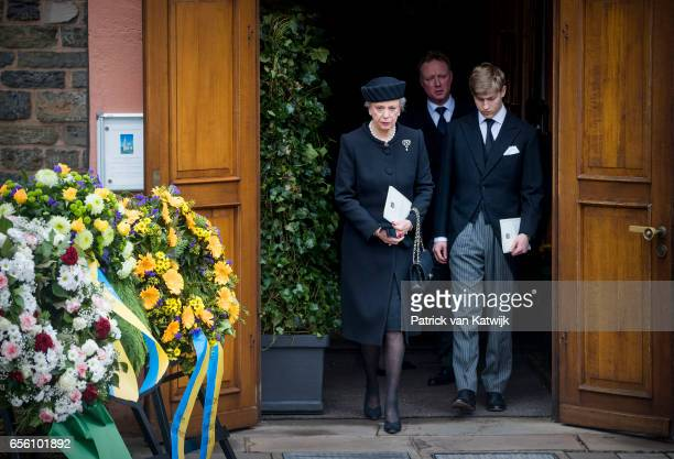 Princess Benedikte Count Richard and Prince Gustav attend the funeral of Prince Richard at the Evangelische Stadtkirche on March 21 2017 in Bad...