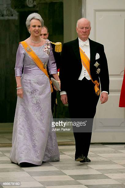 Princess Benedikte of Denmark and her husband Prince Richard of Berleburg attend a State Banquet at Christiansborg Palace during the state visit of...