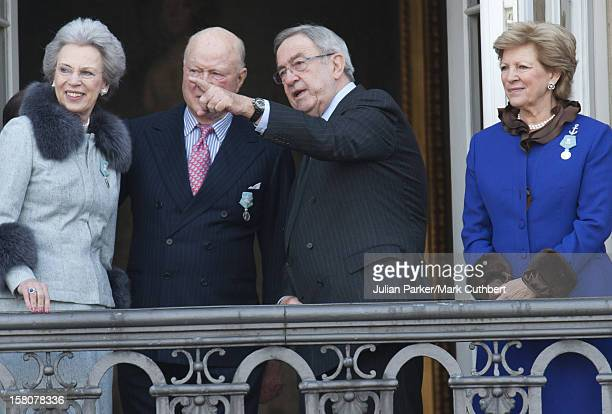 ** ** Princess Benedikte Of Denmark And Prince Richard Of Denmark With King Constantine Of Greece And Queen Anne Marie Of Greece On A Balcony At...
