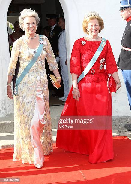 Princess Benedikte Of Denmark And Queen Anne Marie Of Greece Attend The Wedding Of Prince Joachim Of Denmark And Miss Marie Cavallier At Mogeltonder...
